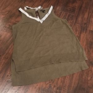 J. Crew green tie back bow tank split hem